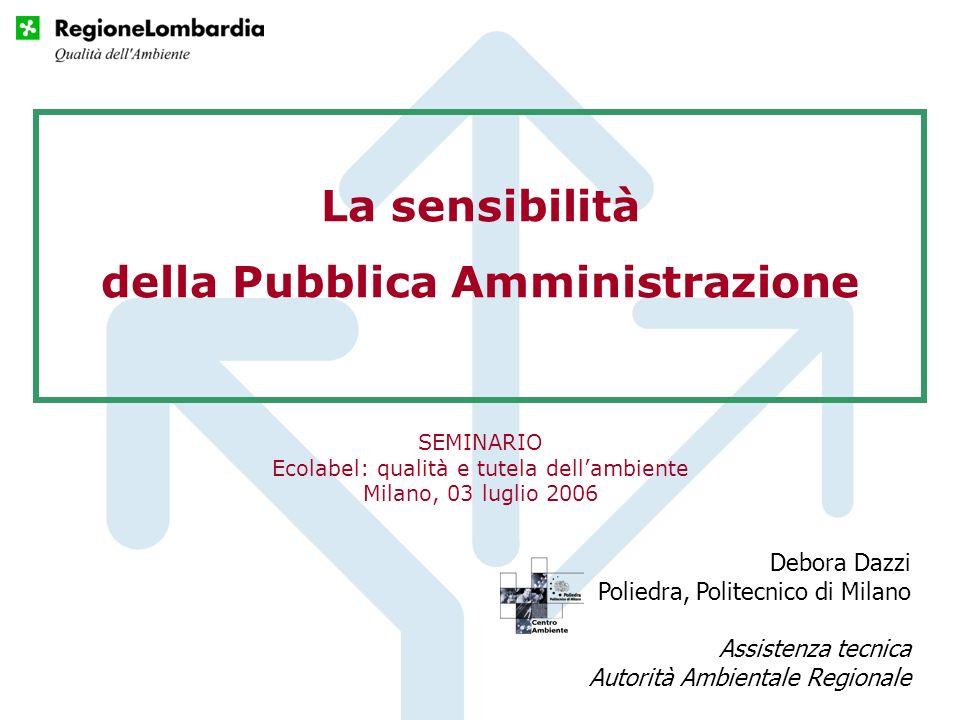 La sensibilità della Pubblica Amministrazione Debora Dazzi Poliedra, Politecnico di Milano Assistenza tecnica Autorità Ambientale Regionale SEMINARIO