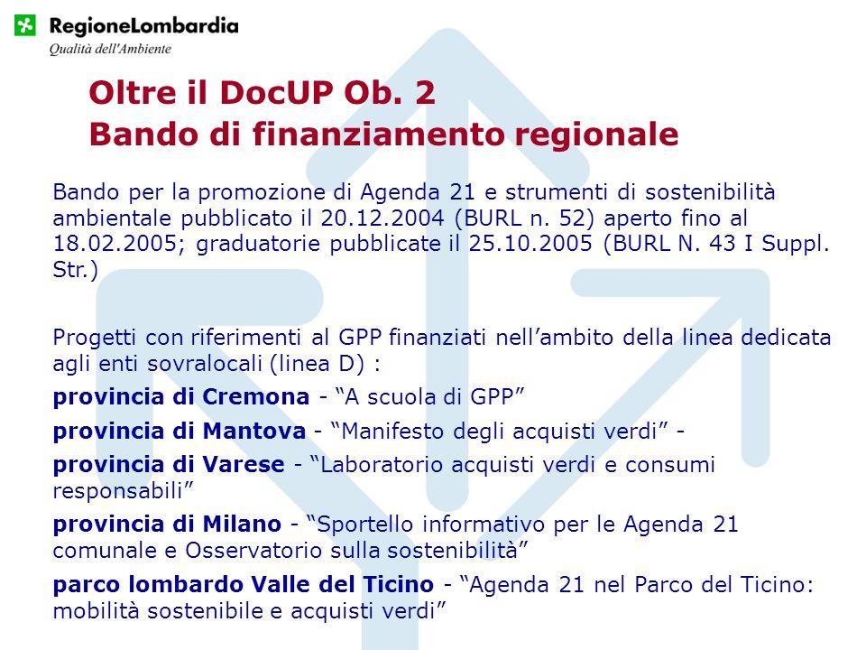 Oltre il DocUP Ob. 2 Bando di finanziamento regionale Bando per la promozione di Agenda 21 e strumenti di sostenibilità ambientale pubblicato il 20.12