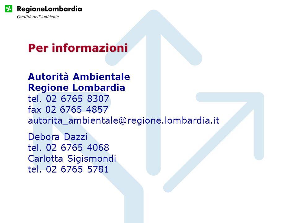 Autorità Ambientale Regione Lombardia tel. 02 6765 8307 fax 02 6765 4857 autorita_ambientale@regione.lombardia.it Debora Dazzi tel. 02 6765 4068 Carlo