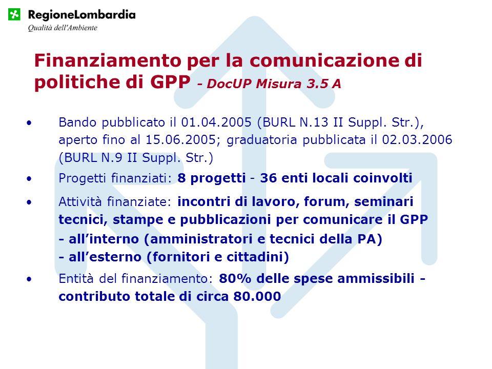 Finanziamento per la comunicazione di politiche di GPP - DocUP Misura 3.5 A Bando pubblicato il 01.04.2005 (BURL N.13 II Suppl. Str.), aperto fino al