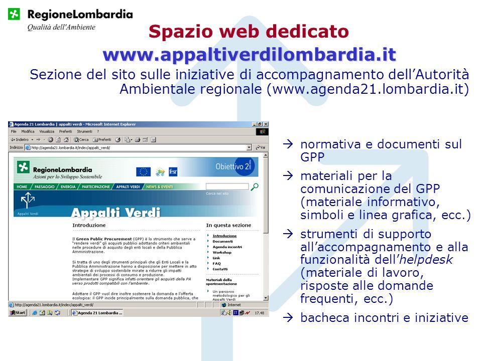 Spazio web dedicatowww.appaltiverdilombardia.it Sezione del sito sulle iniziative di accompagnamento dellAutorità Ambientale regionale (www.agenda21.l