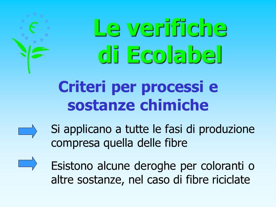 Le verifiche di Ecolabel Criteri per processi e sostanze chimiche Si applicano a tutte le fasi di produzione compresa quella delle fibre Esistono alcu