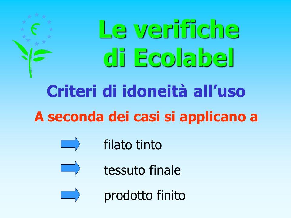 Le verifiche di Ecolabel Criteri di idoneità alluso filato tinto tessuto finale prodotto finito A seconda dei casi si applicano a