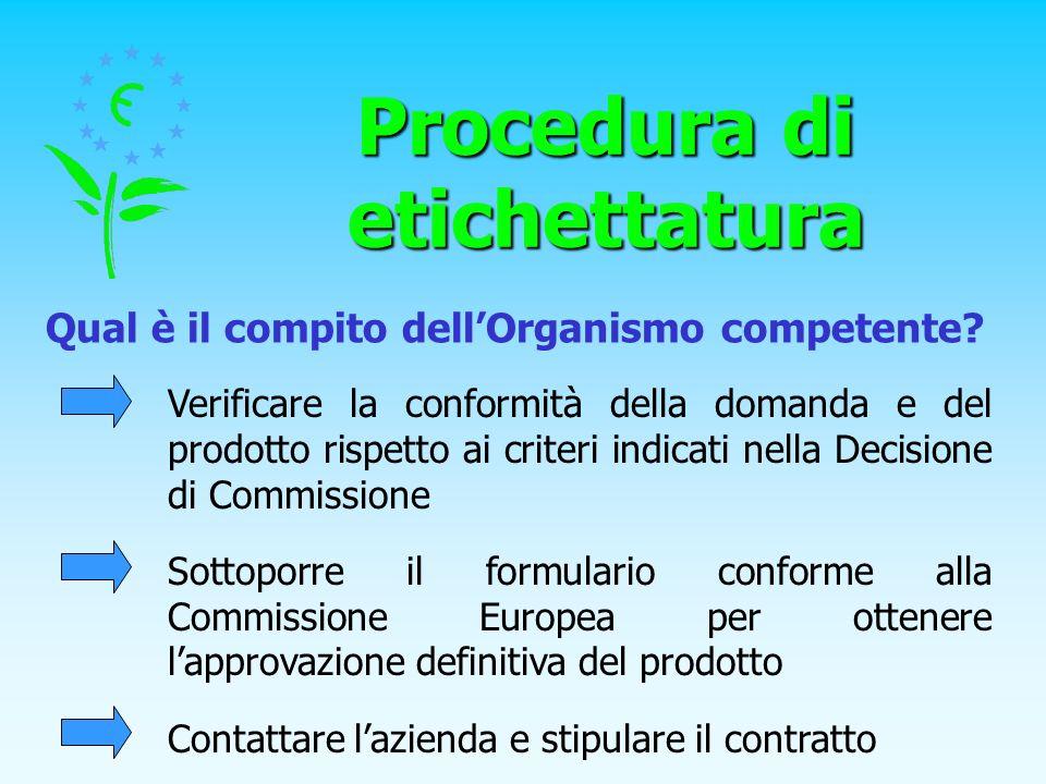 Procedura di etichettatura Qual è il compito dellOrganismo competente? Verificare la conformità della domanda e del prodotto rispetto ai criteri indic