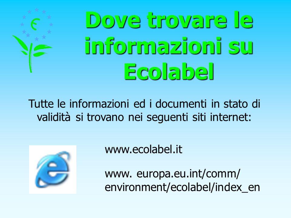 Dove trovare le informazioni su Ecolabel Tutte le informazioni ed i documenti in stato di validità si trovano nei seguenti siti internet: www.ecolabel