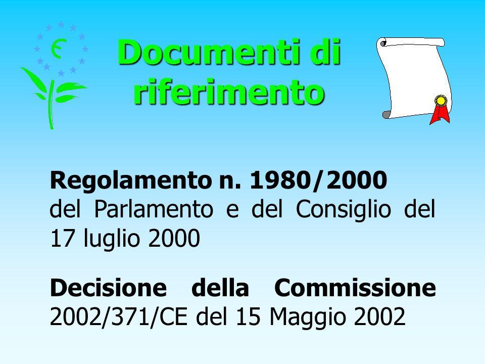 Documenti di riferimento Regolamento n. 1980/2000 del Parlamento e del Consiglio del 17 luglio 2000 Decisione della Commissione 2002/371/CE del 15 Mag