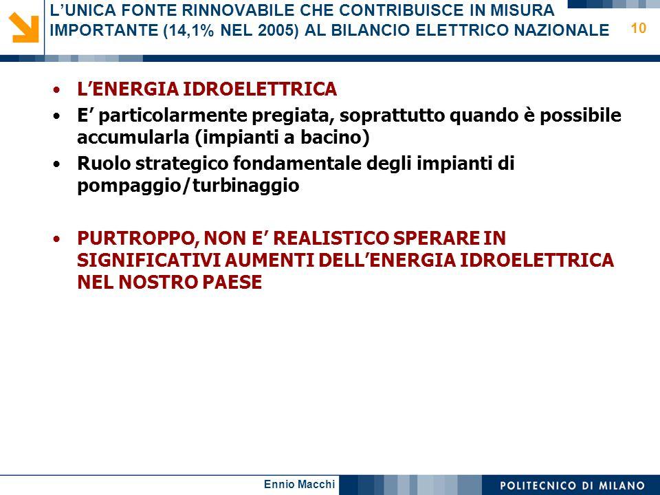 Ennio Macchi 10 LUNICA FONTE RINNOVABILE CHE CONTRIBUISCE IN MISURA IMPORTANTE (14,1% NEL 2005) AL BILANCIO ELETTRICO NAZIONALE LENERGIA IDROELETTRICA