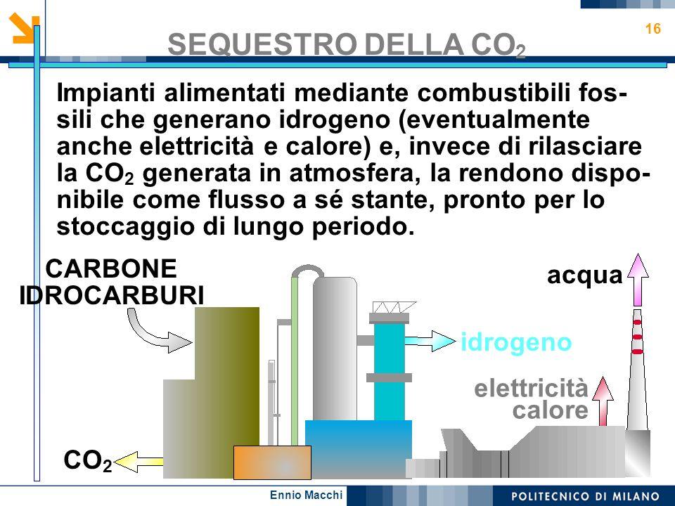 Ennio Macchi 16 SEQUESTRO DELLA CO 2 Impianti alimentati mediante combustibili fos- sili che generano idrogeno (eventualmente anche elettricità e calo