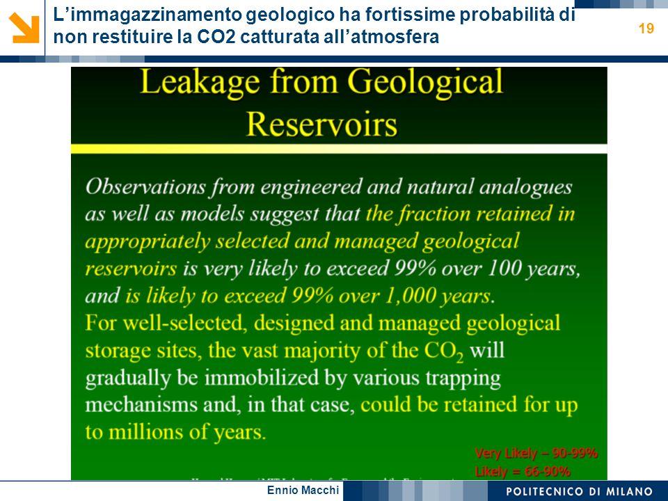 Ennio Macchi 19 Limmagazzinamento geologico ha fortissime probabilità di non restituire la CO2 catturata allatmosfera