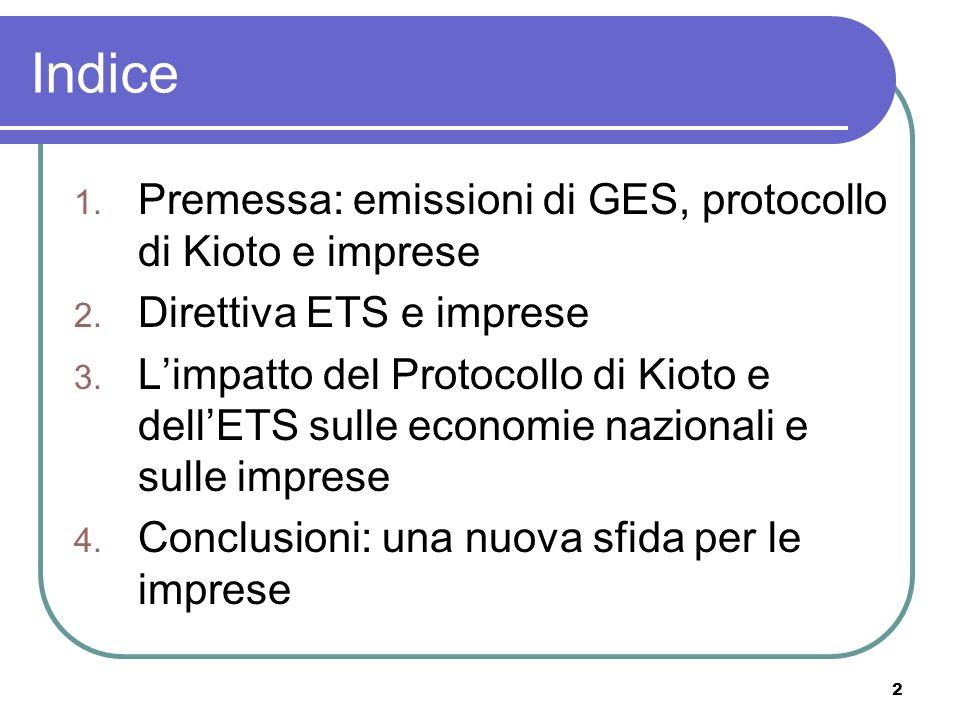 2 Indice 1. Premessa: emissioni di GES, protocollo di Kioto e imprese 2.