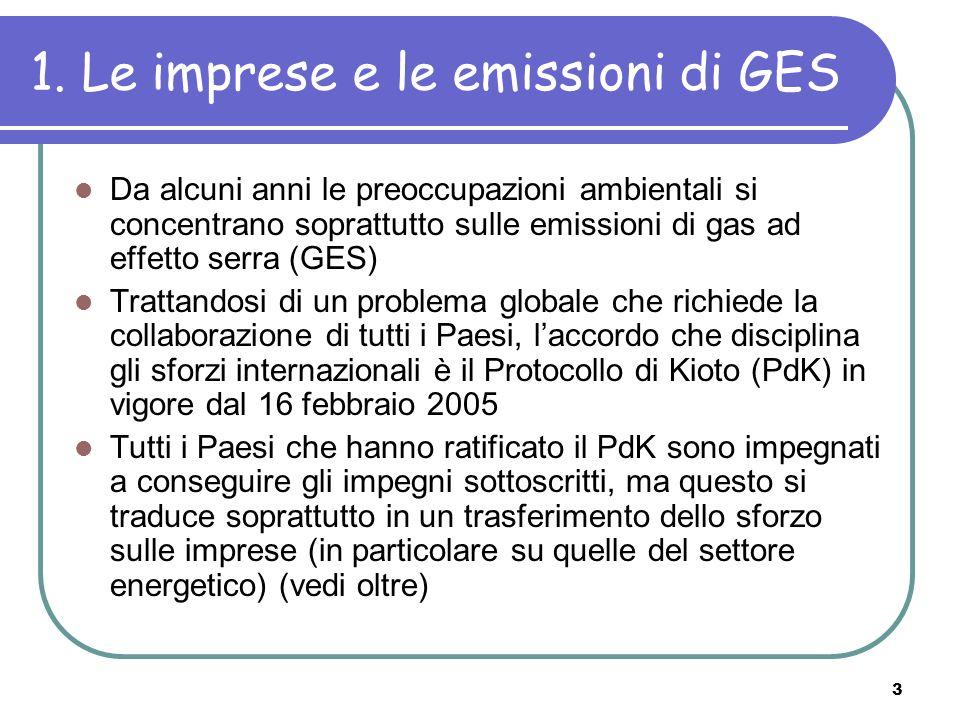 3 1. Le imprese e le emissioni di GES Da alcuni anni le preoccupazioni ambientali si concentrano soprattutto sulle emissioni di gas ad effetto serra (