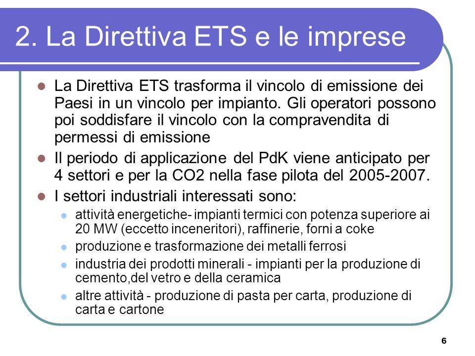 6 2. La Direttiva ETS e le imprese La Direttiva ETS trasforma il vincolo di emissione dei Paesi in un vincolo per impianto. Gli operatori possono poi