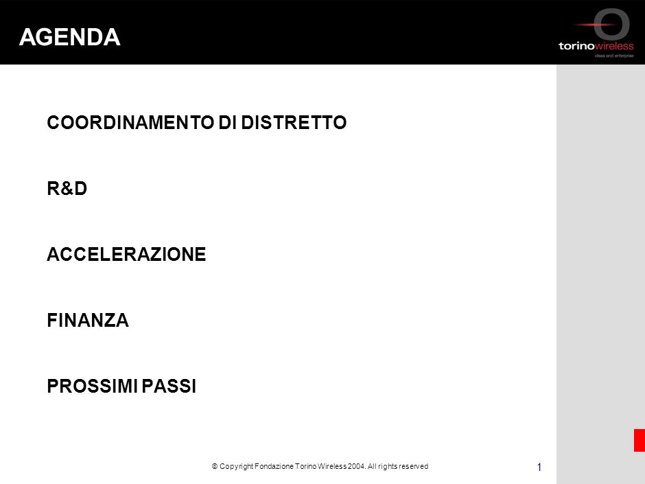 Città, luogo, data Esperienze e Prospettive di Torino Wireless Rodolfo Zich DISTRETTI DI ALTA TECNOLOGIA Milano – Camera di Commercio 16 maggio 2005