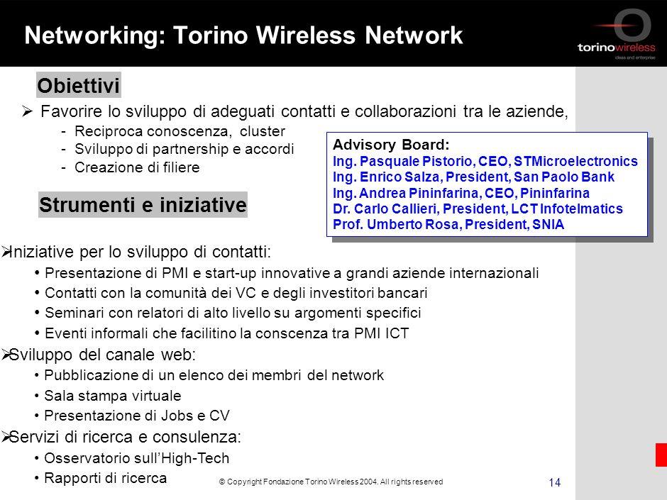 13 © Copyright Fondazione Torino Wireless 2004.