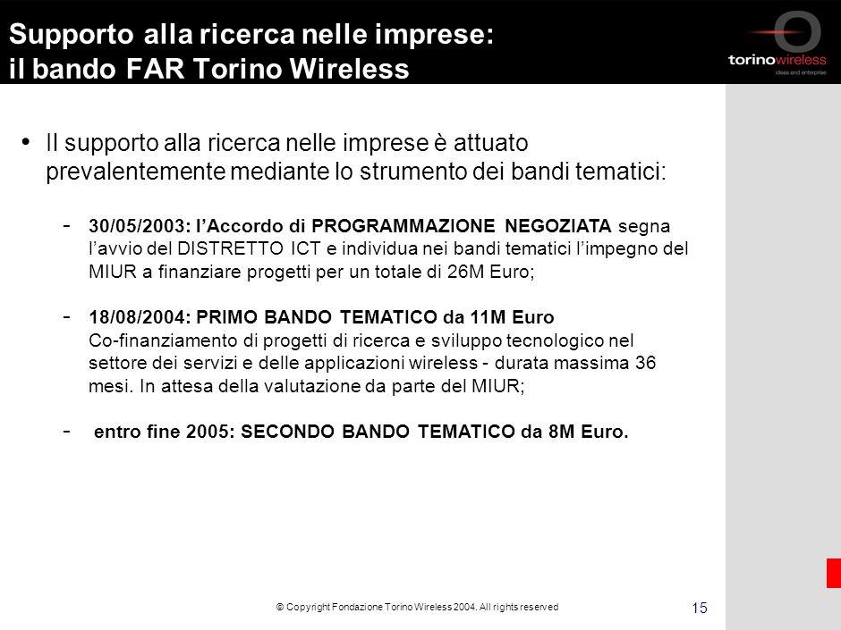 14 © Copyright Fondazione Torino Wireless 2004.