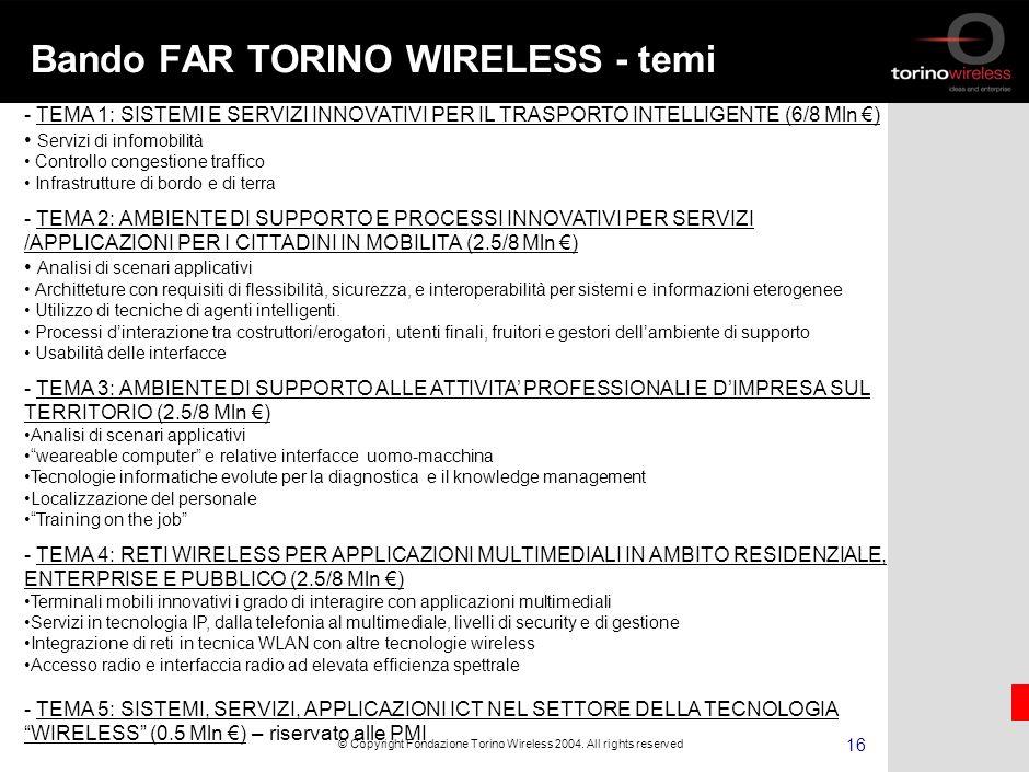 15 © Copyright Fondazione Torino Wireless 2004.