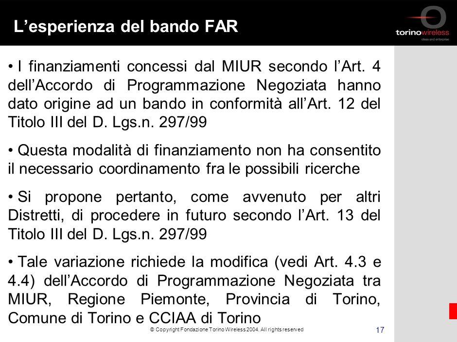 16 © Copyright Fondazione Torino Wireless 2004.
