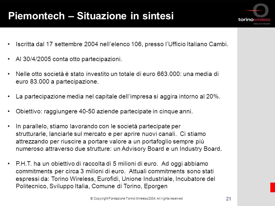 20 © Copyright Fondazione Torino Wireless 2004.