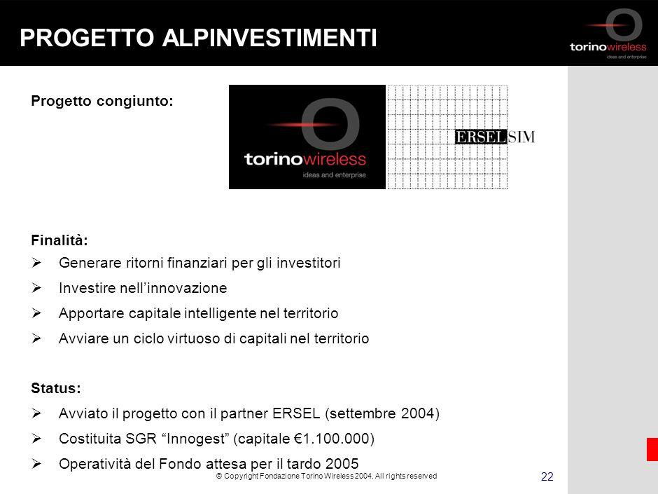 21 © Copyright Fondazione Torino Wireless 2004.