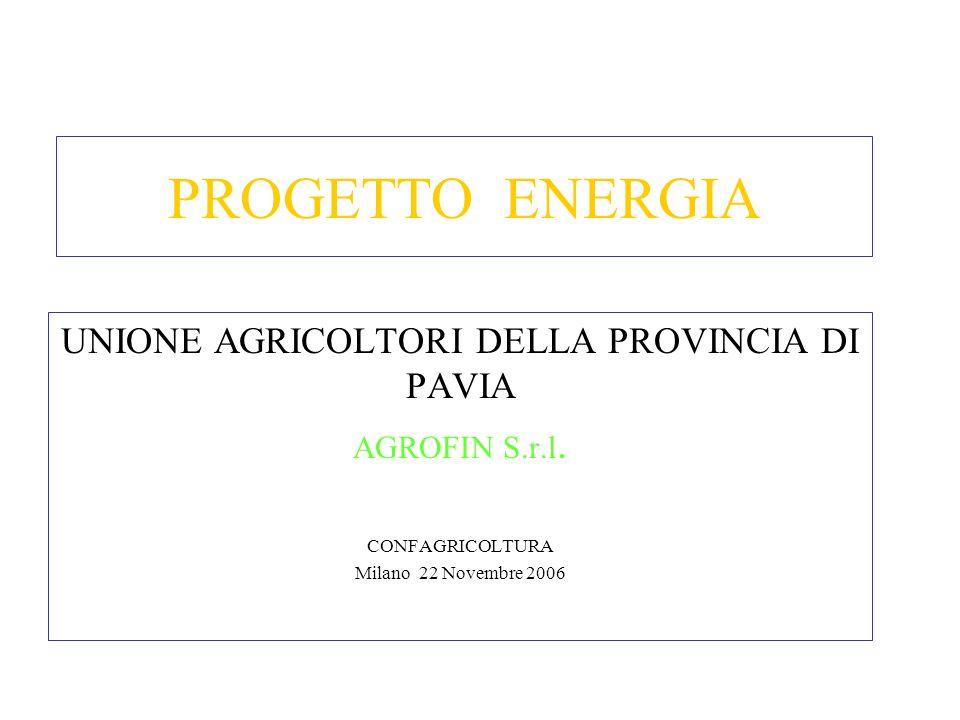 PROGETTO ENERGIA UNIONE AGRICOLTORI DELLA PROVINCIA DI PAVIA AGROFIN S.r.l. CONFAGRICOLTURA Milano 22 Novembre 2006