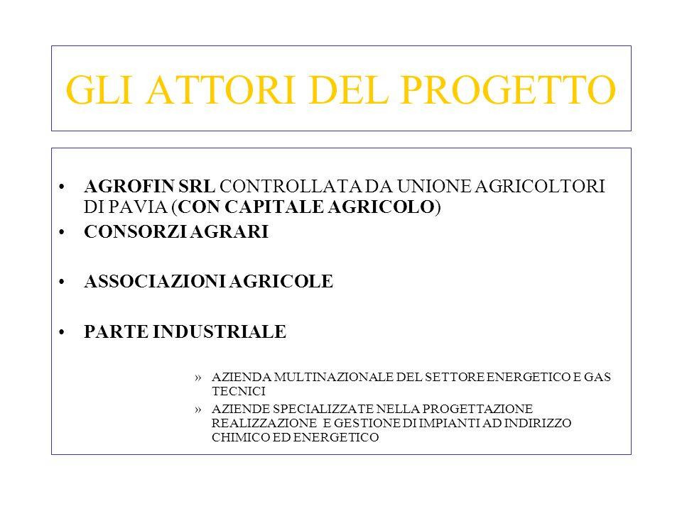 GLI ATTORI DEL PROGETTO AGROFIN SRL CONTROLLATA DA UNIONE AGRICOLTORI DI PAVIA (CON CAPITALE AGRICOLO) CONSORZI AGRARI ASSOCIAZIONI AGRICOLE PARTE IND