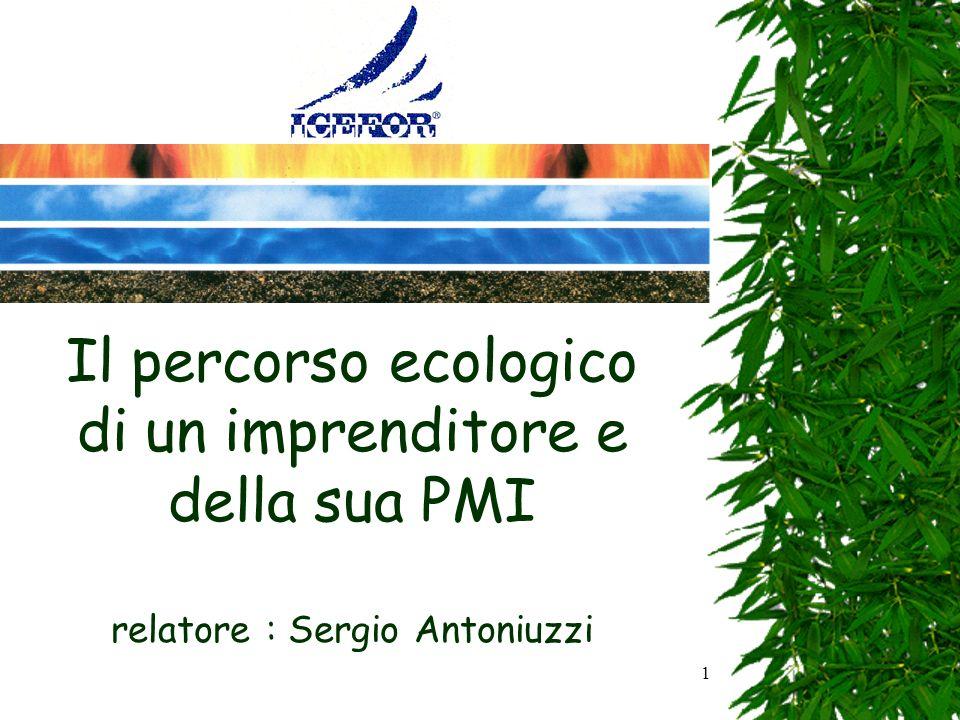 1 Il percorso ecologico di un imprenditore e della sua PMI relatore : Sergio Antoniuzzi