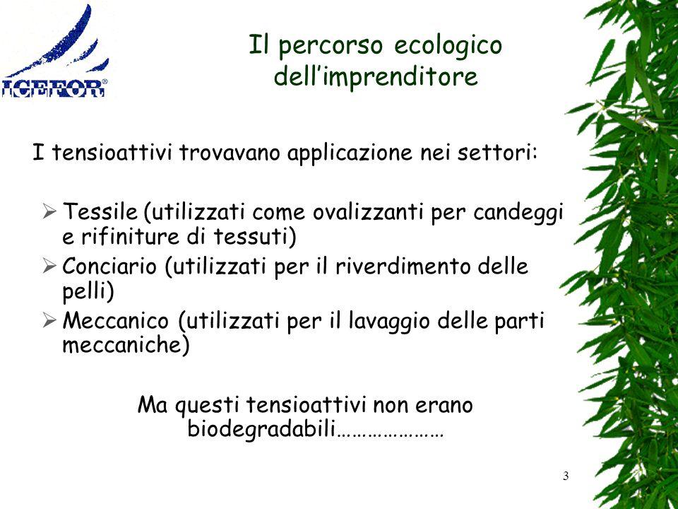 3 Il percorso ecologico dellimprenditore I tensioattivi trovavano applicazione nei settori: Tessile (utilizzati come ovalizzanti per candeggi e rifini