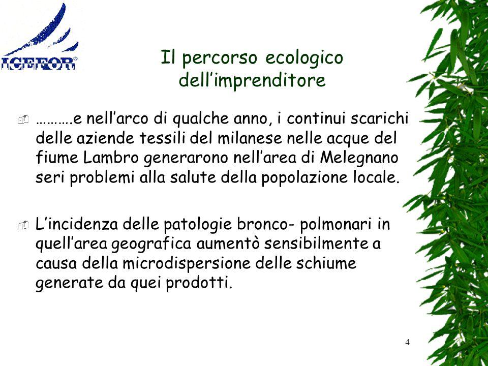 4 Il percorso ecologico dellimprenditore ……….e nellarco di qualche anno, i continui scarichi delle aziende tessili del milanese nelle acque del fiume