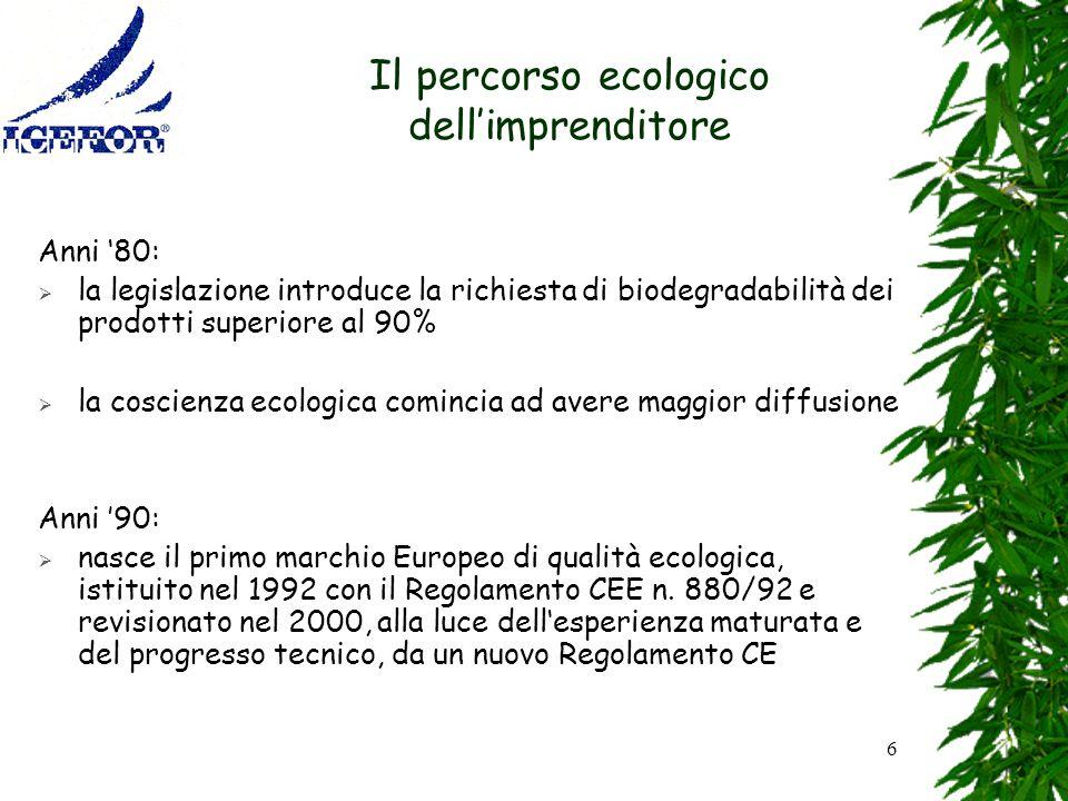 6 Il percorso ecologico dellimprenditore Anni 80: la legislazione introduce la richiesta di biodegradabilità dei prodotti superiore al 90% la coscienz
