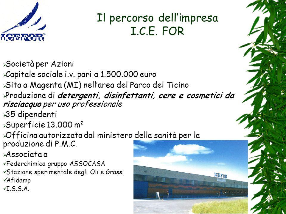 7 Il percorso dellimpresa I.C.E. FOR Società per Azioni Capitale sociale i.v. pari a 1.500.000 euro Sita a Magenta (MI) nellarea del Parco del Ticino