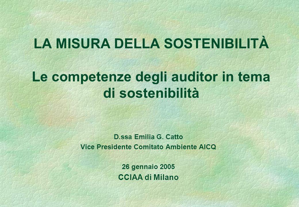 LA MISURA DELLA SOSTENIBILITÀ Le competenze degli auditor in tema di sostenibilità D.ssa Emilia G.