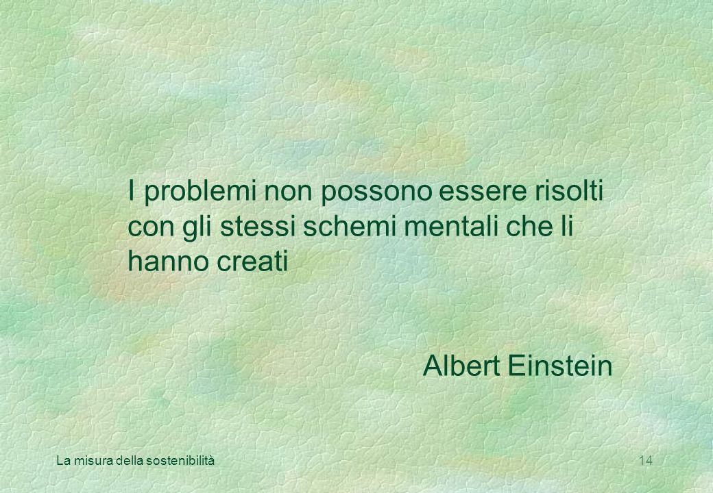 La misura della sostenibilità14 I problemi non possono essere risolti con gli stessi schemi mentali che li hanno creati Albert Einstein