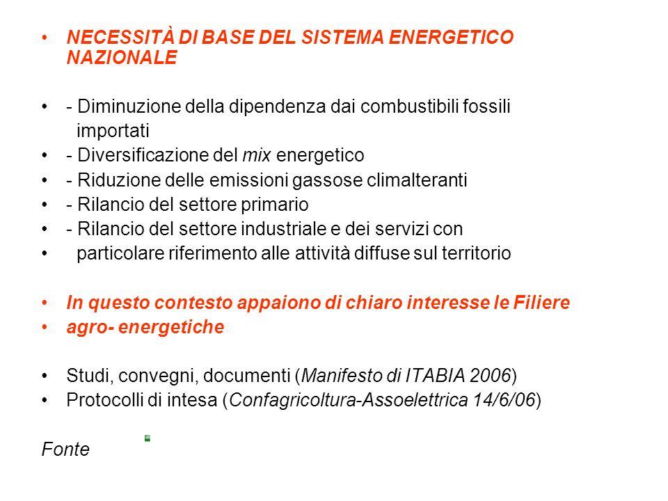 NECESSITÀ DI BASE DEL SISTEMA ENERGETICO NAZIONALE - Diminuzione della dipendenza dai combustibili fossili importati - Diversificazione del mix energetico - Riduzione delle emissioni gassose climalteranti - Rilancio del settore primario - Rilancio del settore industriale e dei servizi con particolare riferimento alle attività diffuse sul territorio In questo contesto appaiono di chiaro interesse le Filiere agro- energetiche Studi, convegni, documenti (Manifesto di ITABIA 2006) Protocolli di intesa (Confagricoltura-Assoelettrica 14/6/06) Fonte
