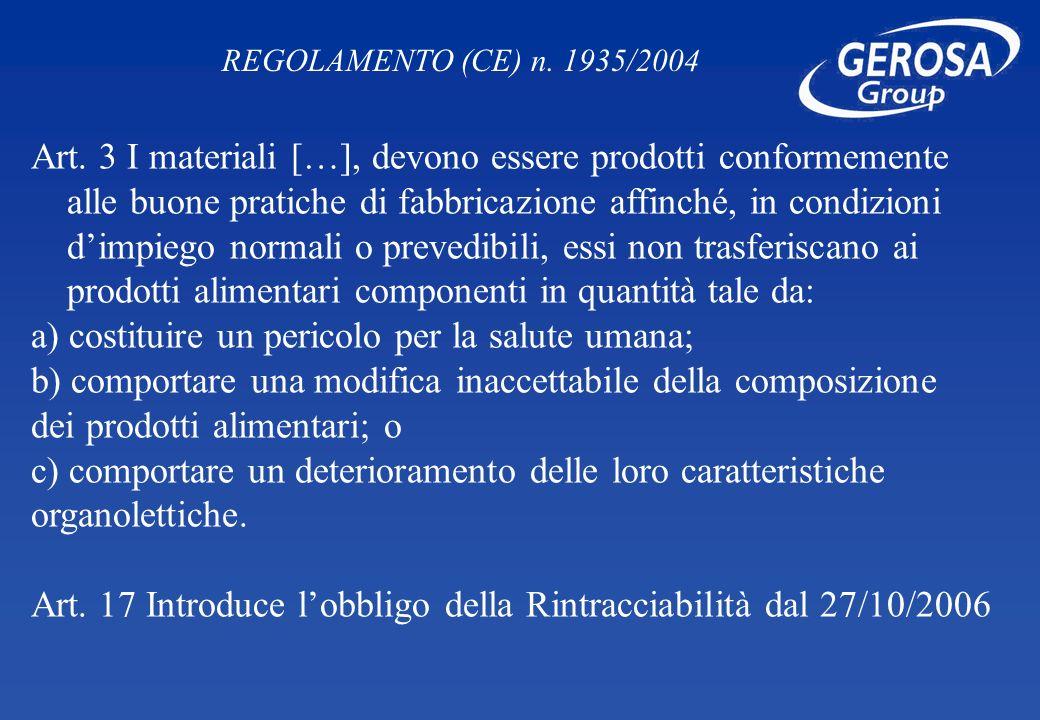Art. 3 I materiali […], devono essere prodotti conformemente alle buone pratiche di fabbricazione affinché, in condizioni dimpiego normali o prevedibi