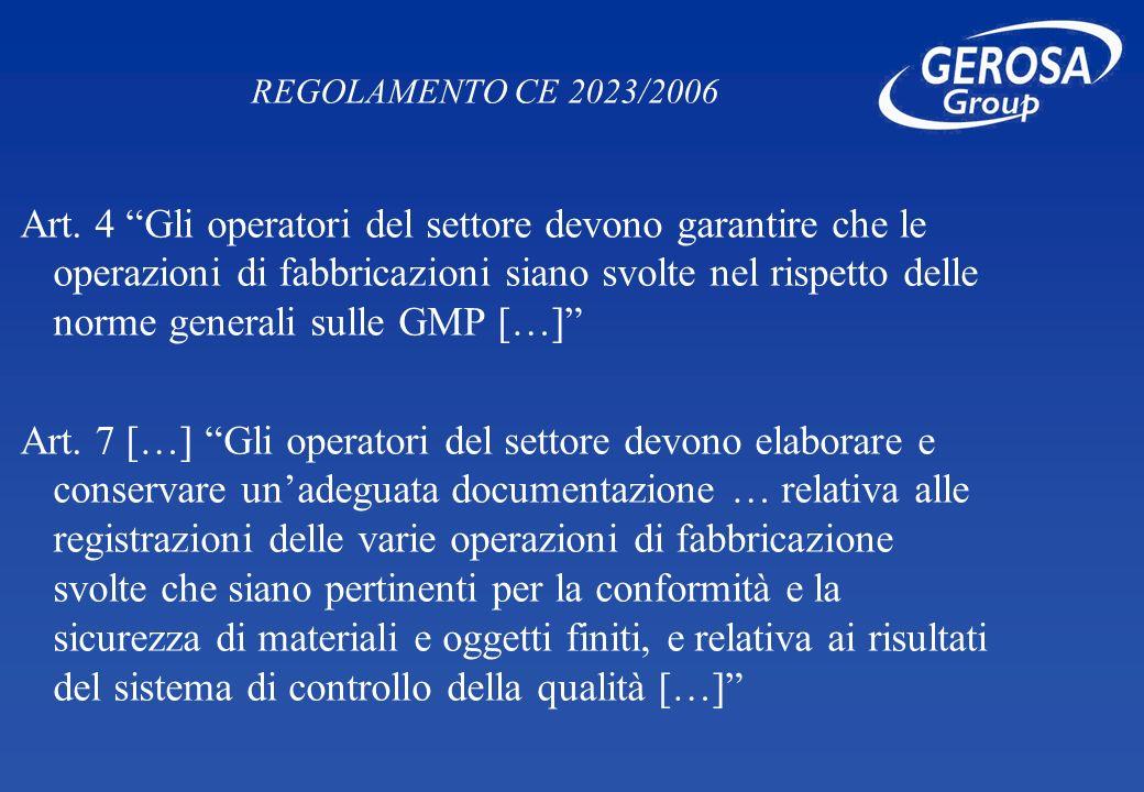 REGOLAMENTO CE 2023/2006 Art. 4 Gli operatori del settore devono garantire che le operazioni di fabbricazioni siano svolte nel rispetto delle norme ge