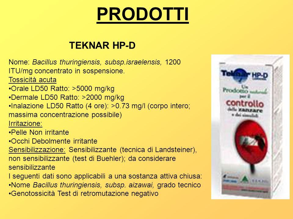 PRODOTTI TEKNAR HP-D Nome: Bacillus thuringiensis, subsp.israelensis, 1200 ITU/mg concentrato in sospensione. Tossicità acuta Orale LD50 Ratto: >5000