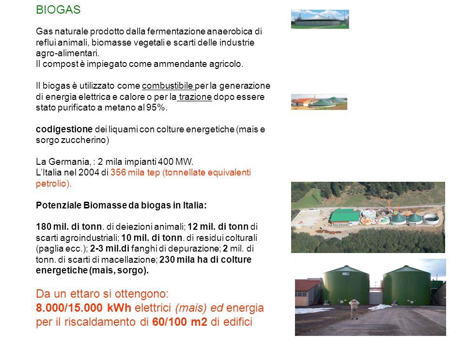 BIOGAS Gas naturale prodotto dalla fermentazione anaerobica di reflui animali, biomasse vegetali e scarti delle industrie agro-alimentari. Il compost