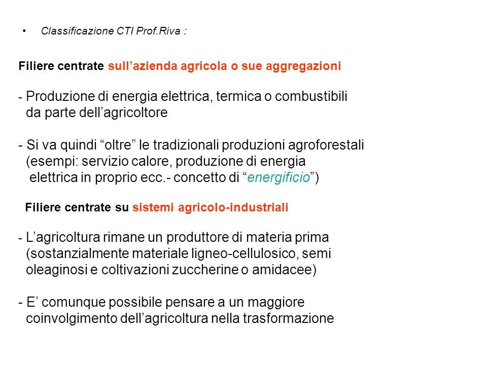 Classificazione CTI Prof.Riva : Filiere centrate sullazienda agricola o sue aggregazioni - Produzione di energia elettrica, termica o combustibili da