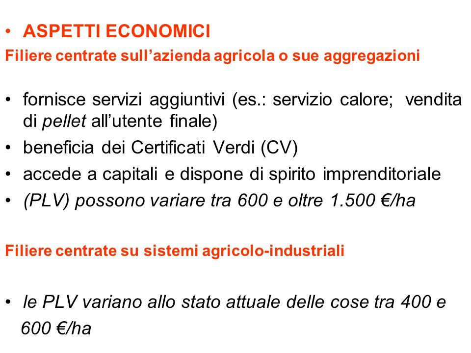 ASPETTI ECONOMICI Filiere centrate sullazienda agricola o sue aggregazioni fornisce servizi aggiuntivi (es.: servizio calore; vendita di pellet allute