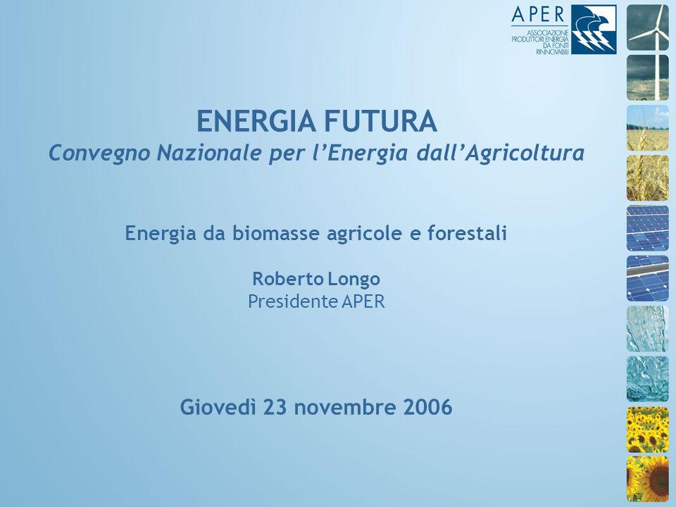 ENERGIA FUTURA Convegno Nazionale per lEnergia dallAgricoltura Energia da biomasse agricole e forestali Roberto Longo Presidente APER Giovedì 23 novembre 2006