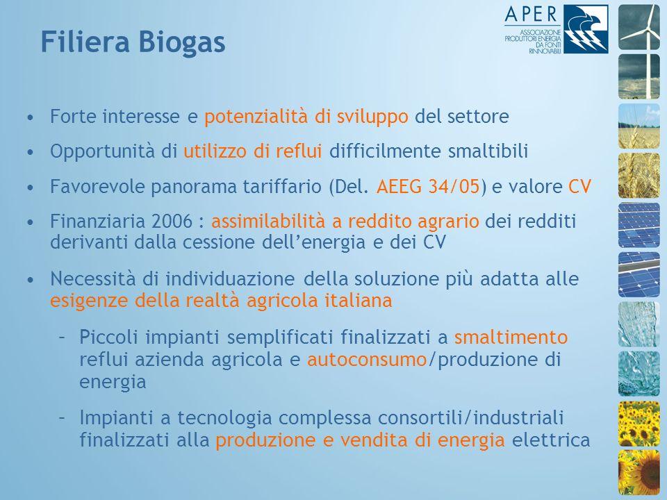 Forte interesse e potenzialità di sviluppo del settore Opportunità di utilizzo di reflui difficilmente smaltibili Favorevole panorama tariffario (Del.