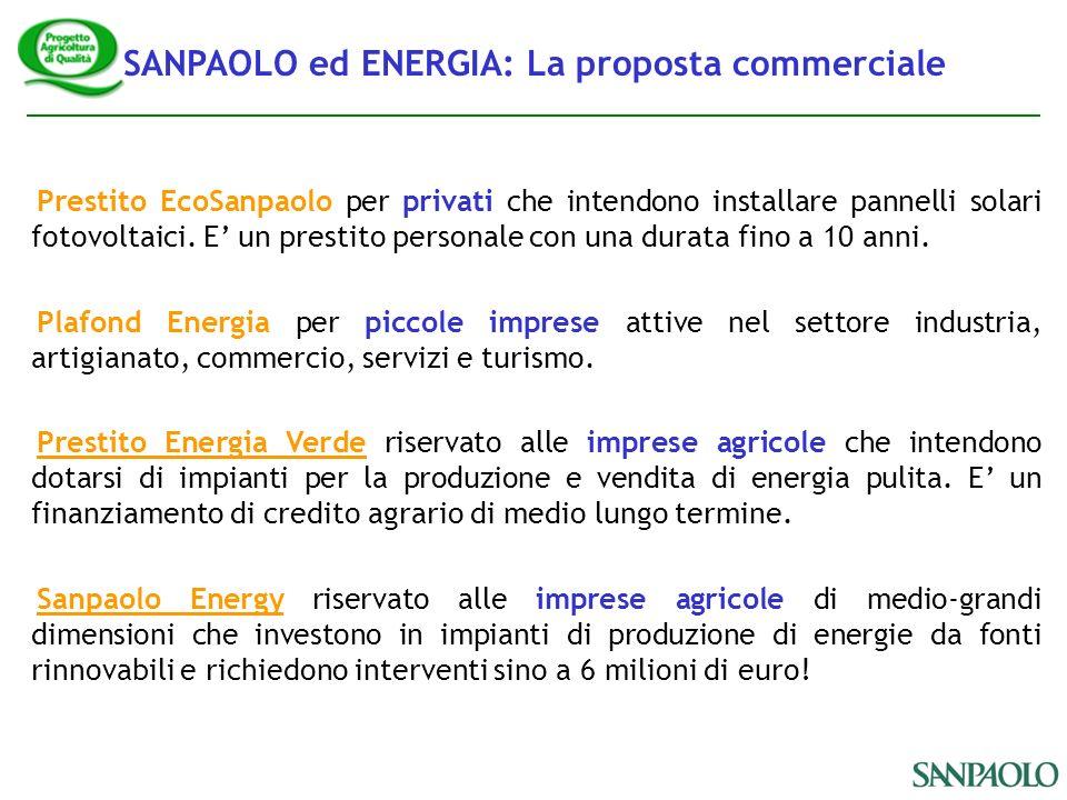 SANPAOLO ed ENERGIA: La proposta commerciale Prestito EcoSanpaolo per privati che intendono installare pannelli solari fotovoltaici.