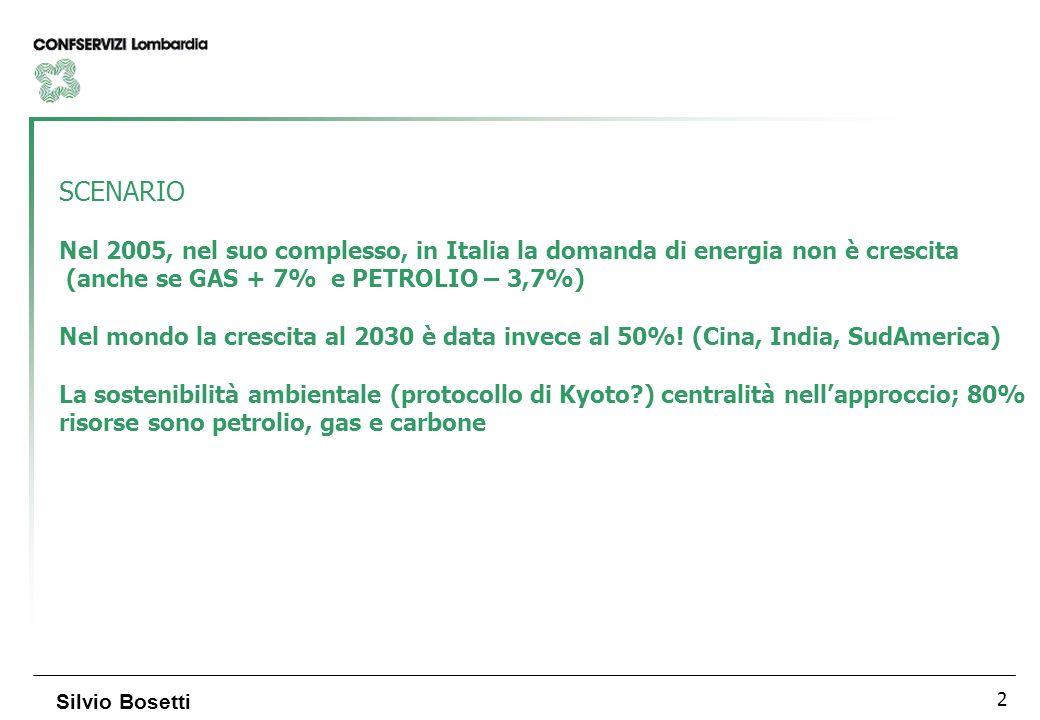 2 Silvio Bosetti SCENARIO Nel 2005, nel suo complesso, in Italia la domanda di energia non è crescita (anche se GAS + 7% e PETROLIO – 3,7%) Nel mondo la crescita al 2030 è data invece al 50%.
