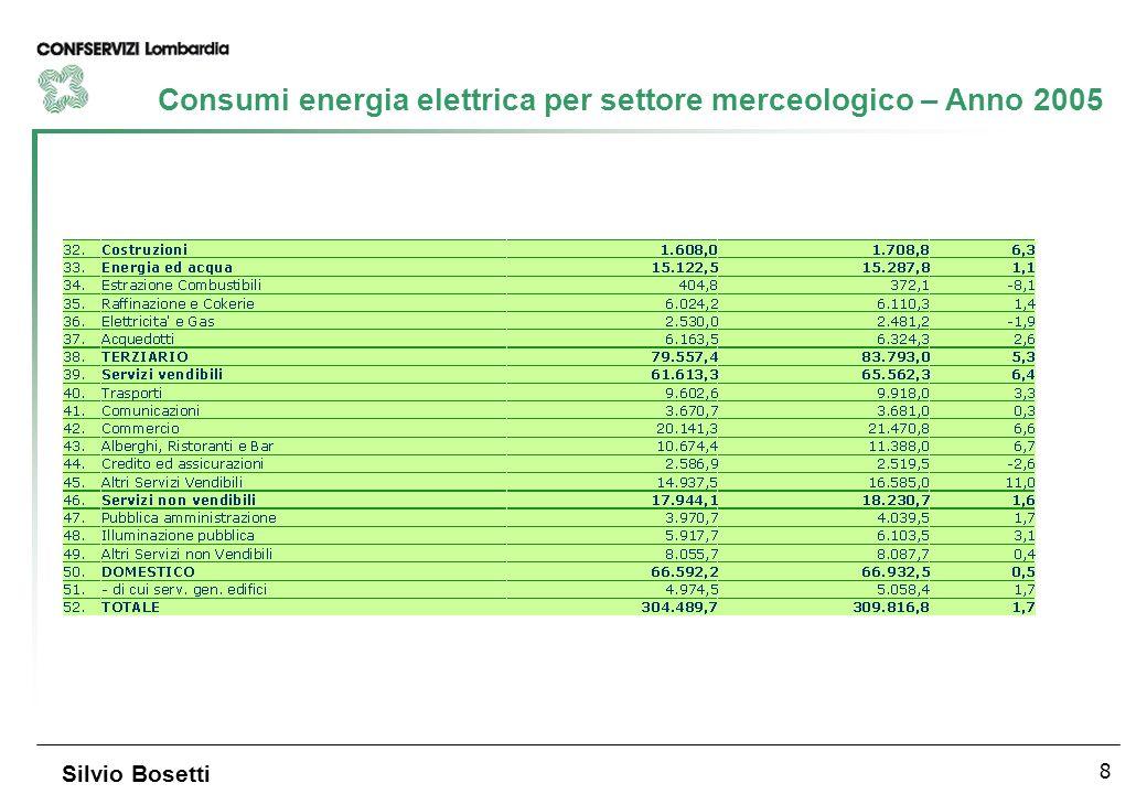 8 Silvio Bosetti Consumi energia elettrica per settore merceologico – Anno 2005