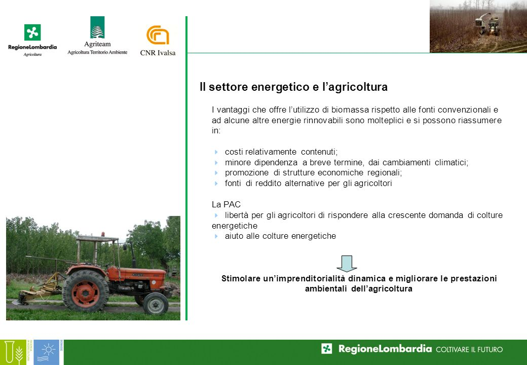 I vantaggi che offre lutilizzo di biomassa rispetto alle fonti convenzionali e ad alcune altre energie rinnovabili sono molteplici e si possono riassumere in: costi relativamente contenuti; minore dipendenza a breve termine, dai cambiamenti climatici; promozione di strutture economiche regionali; fonti di reddito alternative per gli agricoltori La PAC libertà per gli agricoltori di rispondere alla crescente domanda di colture energetiche aiuto alle colture energetiche Stimolare unimprenditorialità dinamica e migliorare le prestazioni ambientali dellagricoltura Il settore energetico e lagricoltura