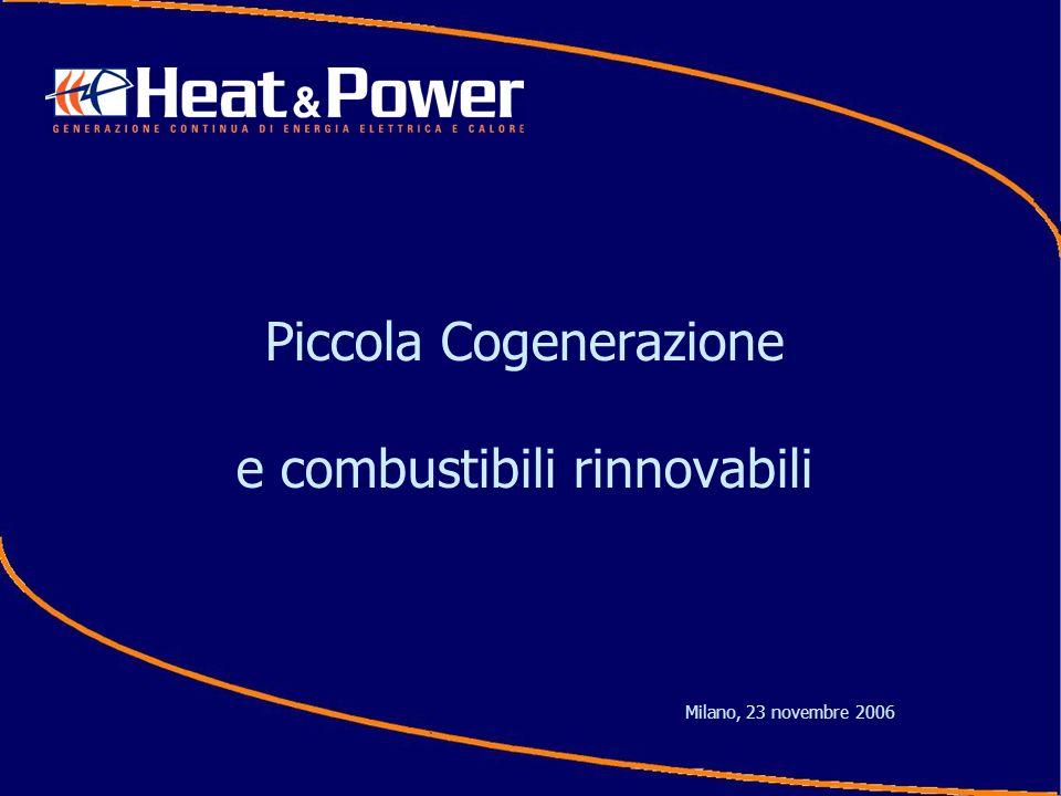 La piccola cogenerazione (potenze inferiori ad 1MW) presenta importanti vantaggi energetici presenta grande potenziali di mercato La tecnologia oggi consente anche lutilizzo di combustibili rinnovabili
