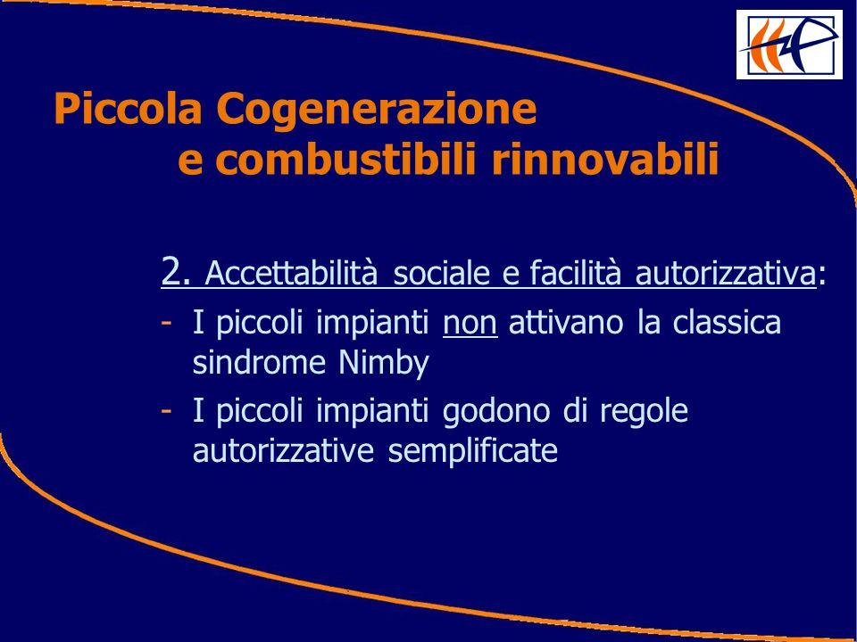 2. Accettabilità sociale e facilità autorizzativa: -I piccoli impianti non attivano la classica sindrome Nimby -I piccoli impianti godono di regole au