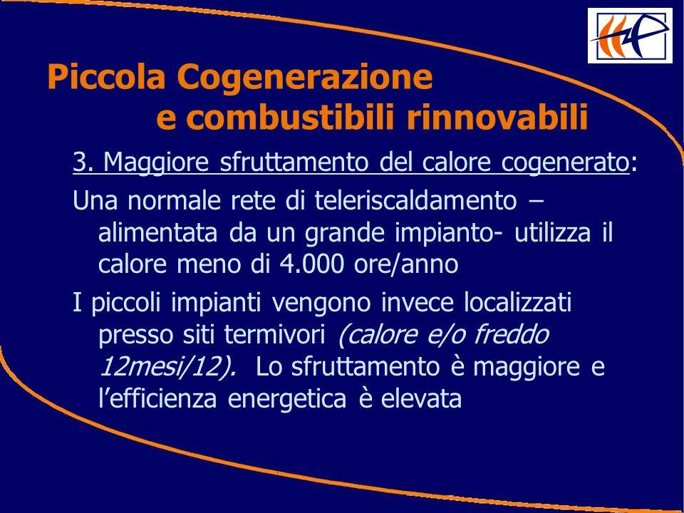 3. Maggiore sfruttamento del calore cogenerato: Una normale rete di teleriscaldamento – alimentata da un grande impianto- utilizza il calore meno di 4
