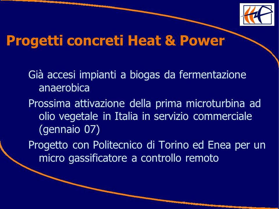 Progetti concreti Heat & Power Già accesi impianti a biogas da fermentazione anaerobica Prossima attivazione della prima microturbina ad olio vegetale in Italia in servizio commerciale (gennaio 07) Progetto con Politecnico di Torino ed Enea per un micro gassificatore a controllo remoto