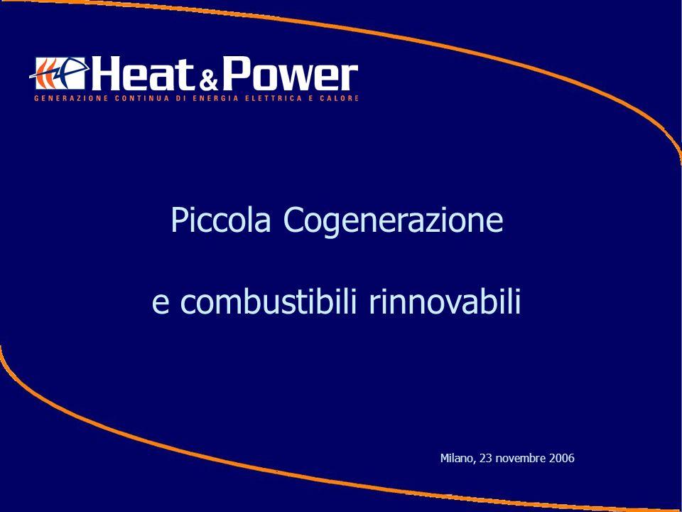 Piccola Cogenerazione e combustibili rinnovabili Milano, 23 novembre 2006